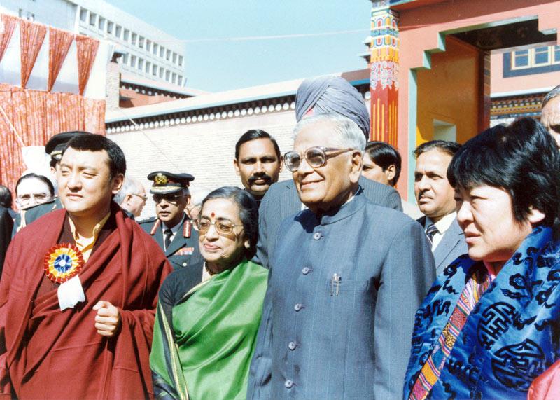 Inauguration du KIBI, New Delhi, avec l'ancien président de l'Inde, Shri Ramaswamy Venkataraman et sur la droite Ashi Chökyi, princesse du Bhoutan, 1991
